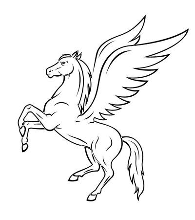 pegaso: Blanco pegaso caballo con alas. Ilustración vectorial