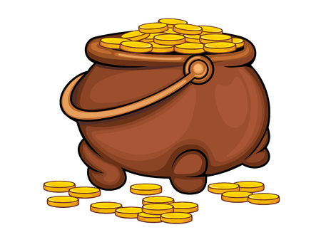 Pot with gold coins as a treasure concept. Vector illustration