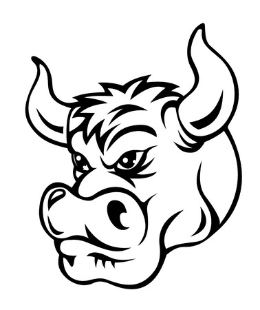 Danger bull in cartoon style. Vector illustration Illustration