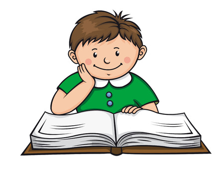 Boy reading a book in library. Vector illustration Vector