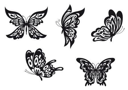 mariposas volando: Conjunto de tatuajes de mariposas negras. Ilustraci�n vectorial