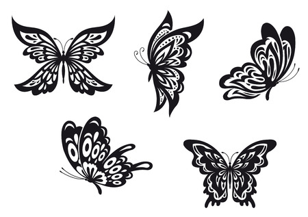 Set of black butterfly tattoos. Vector illustration Illustration
