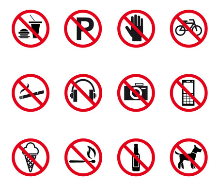 Prohibition and warning signs set. Vector illustration Vector