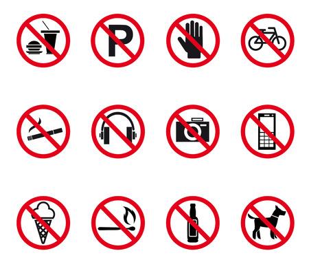 interdiction: Signaux d'interdiction et d'alerte fixés. Vector illustration