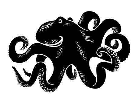 Big octopus isolated on white. Vector illustration