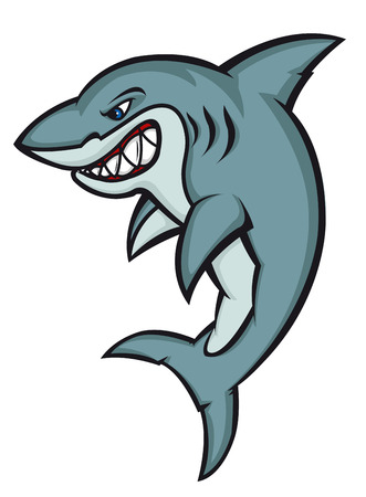Danger cartoon shark isolated on white. Vector illustration