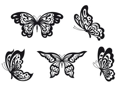 farfalla tatuaggio: Set di farfalla nero isolato su bianco. Vector illustration
