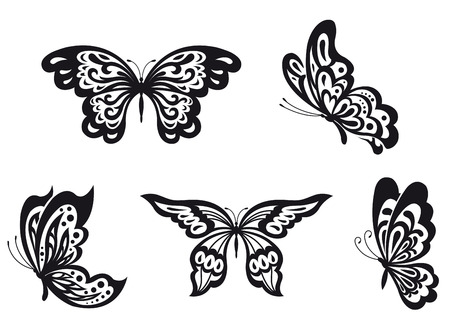tekening vlinder: Set van zwarte vlinder op wit wordt geïsoleerd. Vector illustratie
