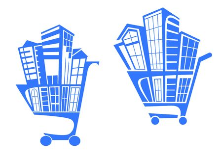 Shopping cart with buildings for real estate business. Vector illustration Vector
