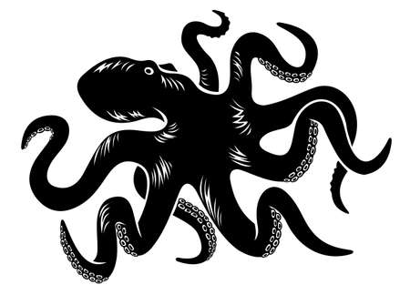 Black octopus isolated on white. Vector illustration Vector