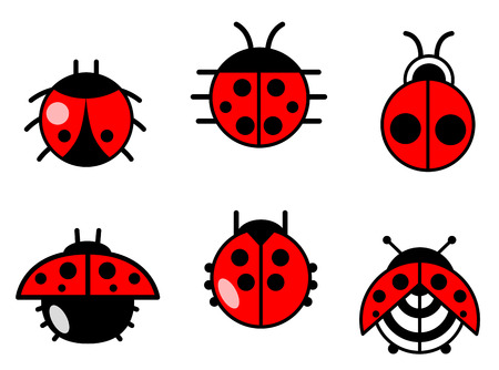 Ladybugs and beetles icons set. Vector illustration Illustration