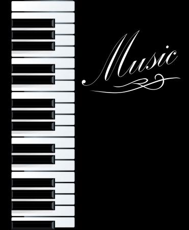 teclado de piano: Piano fondo para el diseño musical. Ilustración vectorial