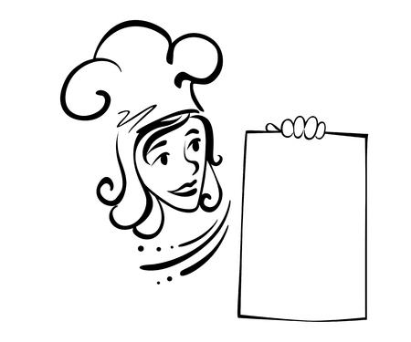 Waitress with menu for restaurant design. Vector illustration