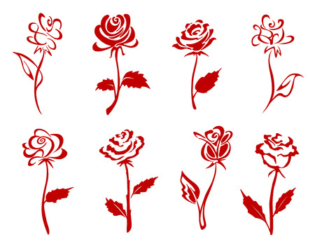 Beautiful isolated red roses set. Vector illustration