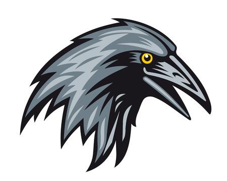 cuervo: Cabeza de cuervo negro para la mascota. Ilustración vectorial
