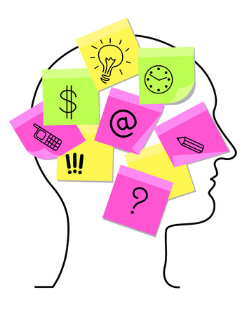 People head with stickers as memory concept. Vector illustration Illustration