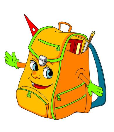 Cartoon school satchel for education concept. Vector illustration  イラスト・ベクター素材