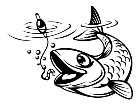 Fish oh hook as a fishing sport concept. Vector illustration