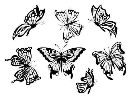 tattoo butterfly: Belle farfalle impostato per il design. Vector illustration
