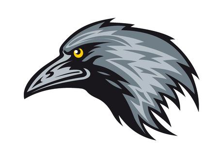 corvo imperiale: Capo del corvo nero per mascotte. Vector illustration