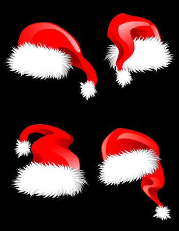 Hats of Santa Claus for holiday decoration. Vector illustration Stock Vector - 22473386