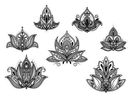 Abstract persian and indian blossoms set. Vector illustration Vector