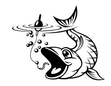 fish pond: Carp fish catching a hook. Vector illustration Illustration