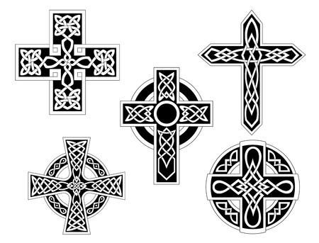 cruz religiosa: Conjunto de cruces celtas irlandeses. Ilustración vectorial
