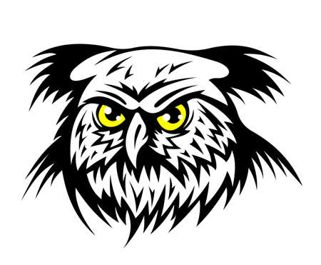 Wild owl head with yellow eyes. Vector illustration Vector
