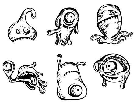 alien face: Cartoon monsters and evils set. Vector illustration