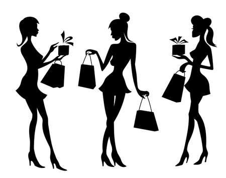 happy shopper: Girls and women with shopping bags. Vector illustration