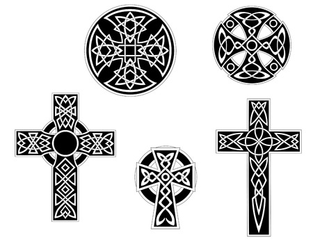 Set of vintage irish celtic crosses. Vector illustration