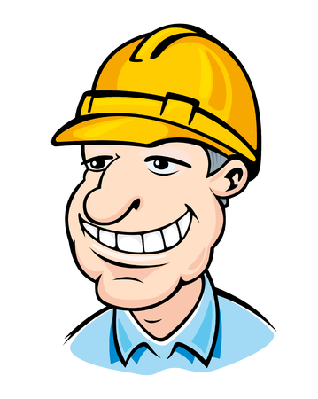 Smiling builder man in helmet. Vector illustration Vector