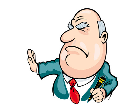 Big boss in cartoon style doesnt want to sign contract. Vector illustration Illustration