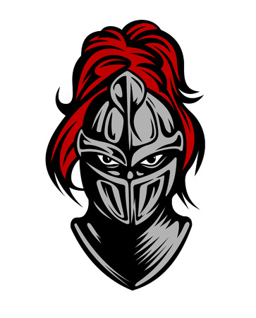 military helmet: Medieval dark knight in helmet. Vector illustration