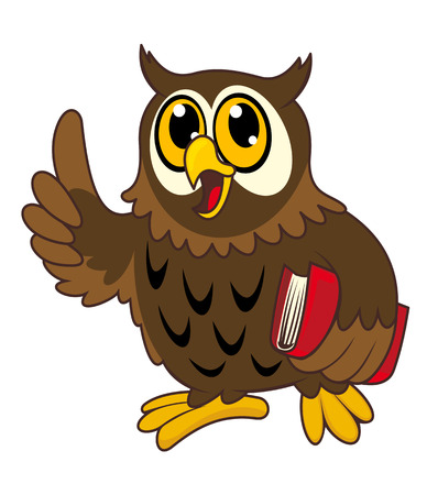 Cartoon owl bird with book. Vector illustration Vector