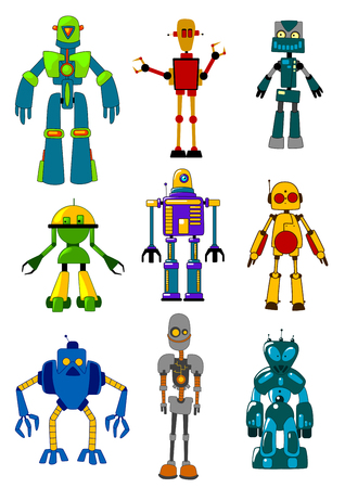 Mechanical robots set in cartoon variations. Vector illustrations
