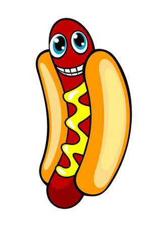 Cartoon smiling hotdog for fastfood concept. Vector illustration