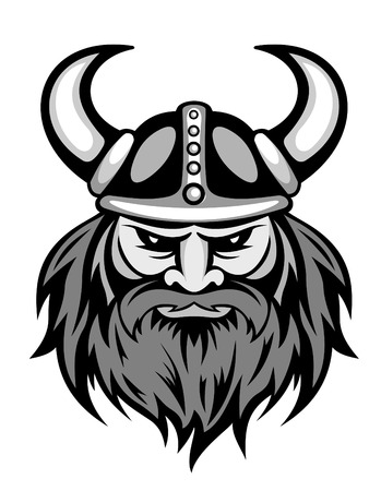 vikingo: Antiguo jefe vikingo para la mascota. Ilustración vectorial