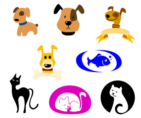 Pets icons and symbols set. Vector illustration