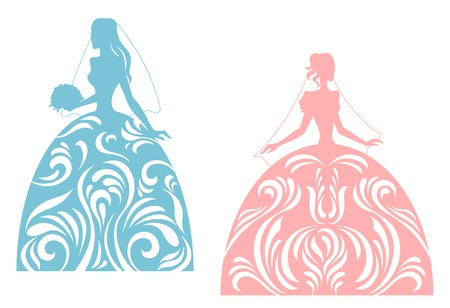 Young bride silhouette for wedding design. Vector illustration