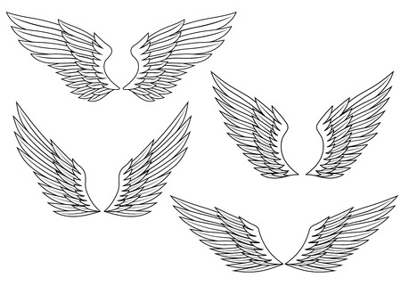 artificial wing: Set of wings for heraldry design