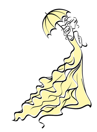 wedding veil: Young bride in wedding dress with umbrella. Vector illustration