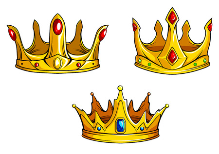 Set of royal golden crowns with jewelries in retro style Vector