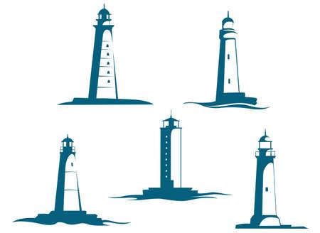 Lighthouse towers symbols set isolated on white background. Vector illustration