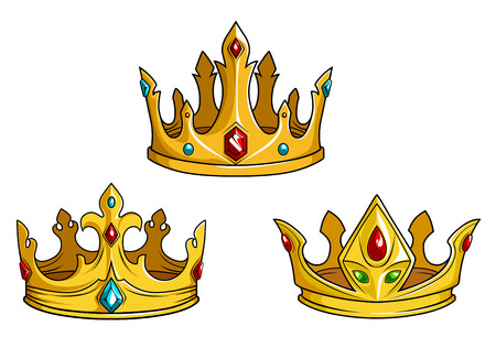 Royal golden crowns with jewelry isolated on white. Vector illustration