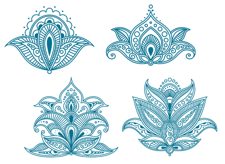 Abstract persian floral embellishments isolated on white. Vector illustration