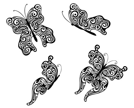 Abstract flying butterflies isolated on white. Vector illustration