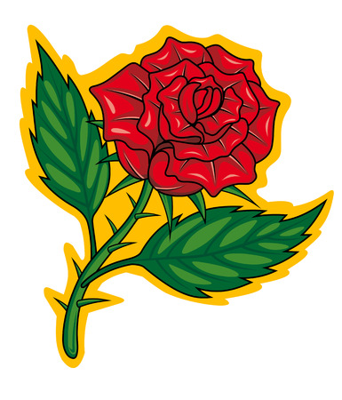 rose tattoo: Red rose in cartoon style for tattoo design. Vector illustration
