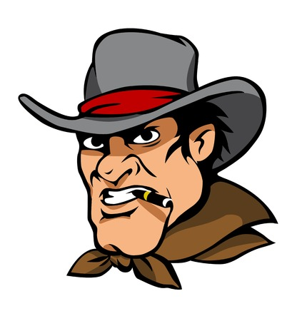 Danger american cowboy in hat smoke a cigar. Vector illustration